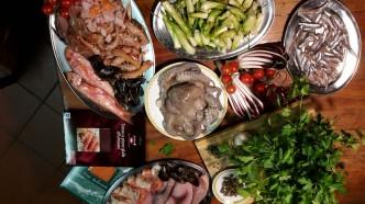 Die Zutaten zu dem Fischessen von Silvester